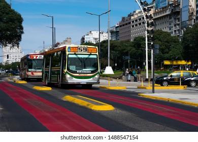 Buenos Aires, Argentina. August 19, 2019. Metrobus (Colectivo) exclusive lane on July 9 Avenue (Avenida 9 de Julio)