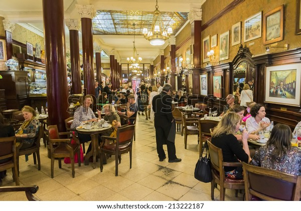 BUENOS AIRES, ARGENTINA - AUGUST 21, 2014: The ancient Cafe Tortoni on August 21, 2014 in Buenos Aires city, Argentina. Inaugurated in 1858, moved to its present location in 1880.