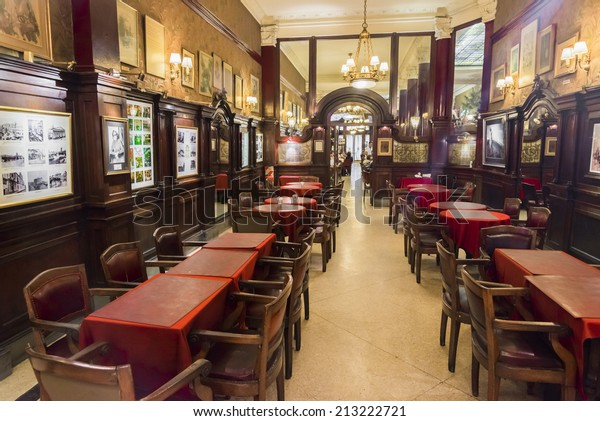 BUENOS AIRES, ARGENTINA - AUGUST 21, 2014: The ancient famous Cafe Tortoni on August 21, 2014 in Buenos Aires city, Argentina. Inaugurated in 1858, moved to its present location in 1880.