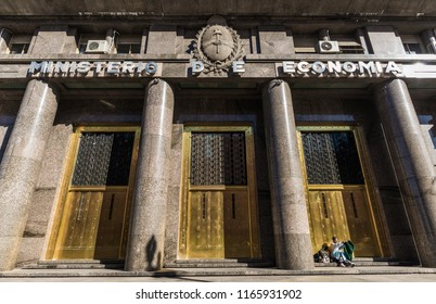 Buenos Aires, Argentina - August 25, 2018: Building of the Ministry of Economy of the Republic of Argentina