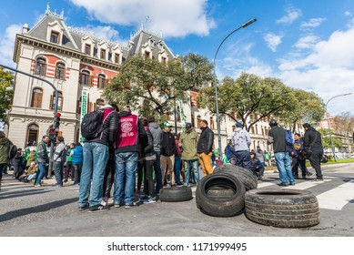 Buenos Aires, Argentina - August 31, 2018: Protesters during a rally against massive layoffs of workers of the Ministry of Agriculture of Argentina