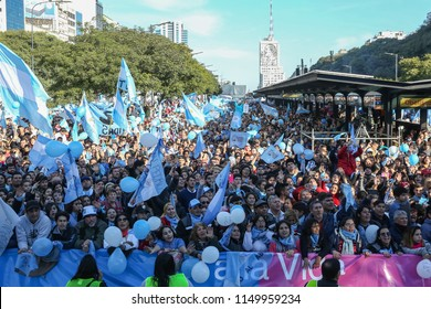 Buenos Aires, Argentina, August 4, 2018. Manifestation of evangelical Christians against the abortion bill. The protest took place in front of the obelisk, on 9 de Julio Avenue.