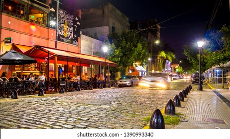 BUENOS AIRES, ARGENTINA - CIRCA FEBRUARY 2019: View on a street at night in Palermo circa February 2019 in Buenos Aires, Argentina.