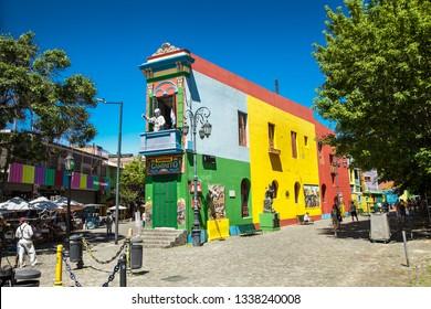 Buenos Aires Argentina - Dec 25, 2018: Colorful houses at Caminito street in La Boca, Buenos Aires. Argentina.