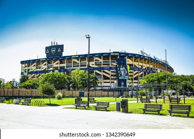 "Buenos Aires Argentina - Dec 25, 2018: Boca Juniors team stadium also known as ""La Bombonera"" hosts one of Argentina most famed club & has a capacity of 49000 people.  Bueno Aires. Argentina."