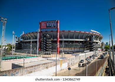 Buenos Aires Argentina - Dec 25, 2018:River Plate football team stadium also known as Antonio Vespucio Liberti stadium. The stadium is also the venue for the national football team of Argentina.