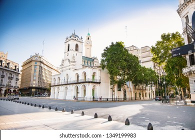 Buenos Aires Argentina - Dec 25, 2018: Cabildo building facade as seen from Plaza de Mayo in Buenos Aires, Argentina.