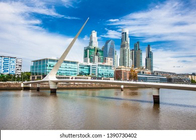 Buenos Aires Argentina - Dec 27, 2018:Bridge at Puerto Madero district on suny day in Buenos Aires, Argentina.