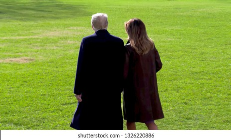 Buenos Aires / Argentina - December 01 2018: Back View of US President Donald Trump and First Lady Melania Trump in G20 Buenos Aires summit