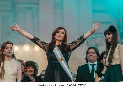 Buenos Aires, Argentina. December 10, 2011. President Cristina Fernandez de Kirchner is the Inauguration celebrations outside the Presidential Palace after being reelected for a second term in Office.