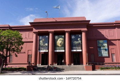 Buenos Aires, Argentina. December 18, 2012: Visitors at the entrance of the National Museum of Fine Arts (MNBA).