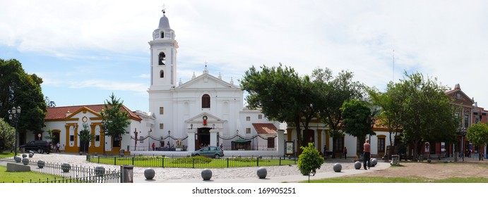 Buenos Aires, Argentina - December 18, 2012: Visitors at the entrance of the  Church of Nuestra Seora del Pilar and the Recoleta Cultural Center.