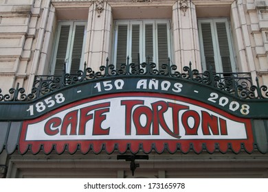 BUENOS AIRES, ARGENTINA, DECEMBER 22, 2013 : Cafe Tortoni is one of the oldest coffeehouse in Buenos Aires. Inaugurated in 1858 by a French immigrant, it was named Tortoni after the Parisian cafe.