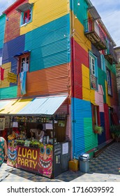 Buenos Aires, Argentina, December 28, 2015: Bright colors of Caminito, the colorful street museum in La Boca neighborhood of Buenos Aires, Argentina - South America