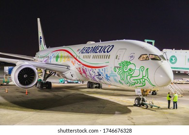 Buenos Aires, Argentina - December 4, 2019: Aeromexico announced the return of its international operations to North America, Central America, Asia and Europe