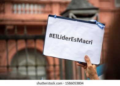 """Buenos Aires, Argentina, December 7, 2019. Close-up of a sign that someone holds that says that """"the leader is macri"""""""