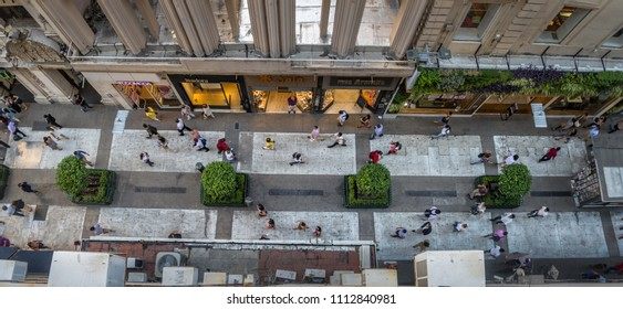 Buenos Aires, Argentina - Feb 04, 2018: Aerial view of Calle Florida (Florida Street) - Buenos Aires, Argentina