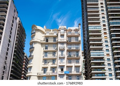 BUENOS AIRES, ARGENTINA - FEB 15, 2014: Architecture of the Avenida del Libertador (Liberator Avenue) whic  is one of the principal thoroughfares in Buenos Aires, Argentina. It extends 25 km to north