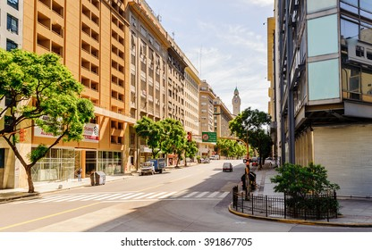 BUENOS AIRES, ARGENTINA - FEB 15, 2014: Building of the Avenida Belgrano (Belgrano Avenue), Buenos Aires. Named after  Manuel Belgrano who took part in the Argentine Wars of Independence