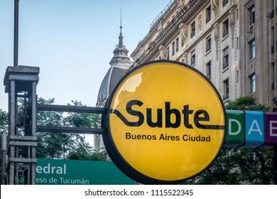 Buenos Aires, Argentina - Feb 4, 2018: Subway (Subte) Sign in Buenos Aires - Buenos Aires, Argentina