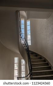 Buenos Aires, Argentina - Feb 9, 2018: Staircase at Palacio Barolo (Barolo Palace) interior - Buenos Aires, Argentina