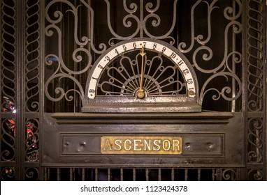 Buenos Aires, Argentina - Feb 9, 2018: Detail of old elevator at Palacio Barolo (Barolo Palace) interior - Buenos Aires, Argentina