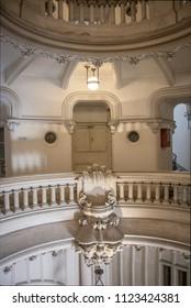 Buenos Aires, Argentina - Feb 9, 2018: Interior of Palacio Barolo (Barolo Palace) - Buenos Aires, Argentina