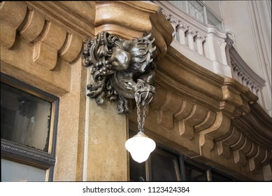 Buenos Aires, Argentina - Feb 9, 2018: Detail of Dragon Bronze Lamp at the Entrance Hall inspired in Hell of Palacio Barolo (Barolo Palace) - Buenos Aires, Argentina