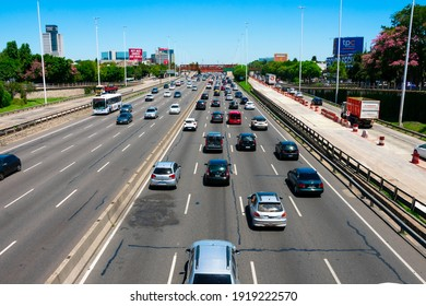 Buenos Aires, Argentina. February 6, 2021. View of General Paz Avenue, a highway surrounding the city of Buenos Aires