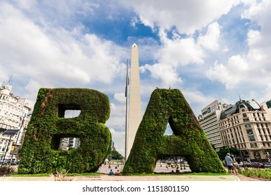 Buenos Aires, Argentina - February 9, 2018: Wide angle photo of the Obelisk square in downtown of Buenos Aires