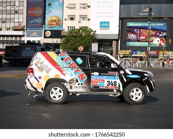 Buenos Aires, Argentina - first of January 2011: Colorful Van prepared for the Rallye Dakar 2011