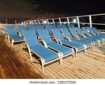 Buenos Aires, Argentina - Jan 09 2019: Upper (Solarium) deck of Costa Favolosa cruise ship in Buenos Aires - Argentin