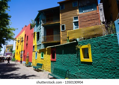 Buenos Aires, Argentina, JAN 14 2019: Popular Colorful street Caminito in the La Boca neighborhood in Buenos Aires