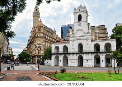 Buenos Aires, Argentina- Jan 19, 2011: Cabildo. Building that was used as seat of ayuntamiento during colonial times and government house of Viceroyalty of Río de la Plata. Today is used as museum