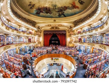 Buenos Aires, Argentina - January 10, 2018: The famous El Ateneo Grand Splendid, a 100-year-old theater converted into a bookshop in Buenos Aires, Argentina.