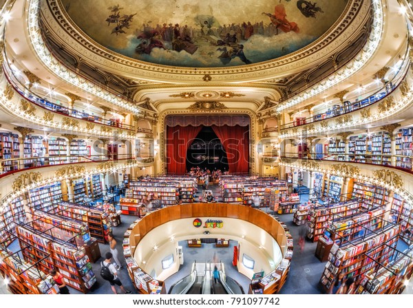 Buenos Aires, Argentina - January 10, 2018: The famous El Ateneo Grand Splendid, a bookshop set in a 100-year-old theater in Buenos Aires, Argentina.