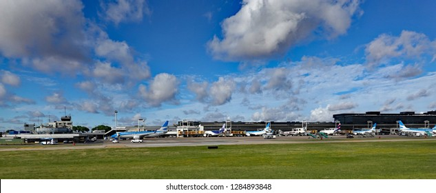 BUENOS AIRES, ARGENTINA - JANUARY 13, 2019:  Jorge Newbery Airport, known as Aeroparque (AEP) is the airport you use for domestic flights.  It is very close to the city.