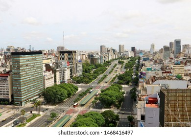 Buenos Aires, Argentina - January 1st 2018: July 9 Avenue Street View Panorama