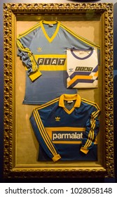 BUENOS AIRES, ARGENTINA - JANUARY 20, 2018: Detail from Museo de la Pasion Boquense in La Boca, Buenos Aires, Argentina. It is museum devoted to the Boca Juniors football club.