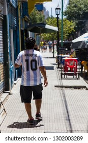 BUENOS AIRES, ARGENTINA - JANUARY 20, 2018: Street art of Diego Armando Maradona in Buenos Aires, Argentina. Maradona is argentinian former soccer player and one of the worlds most famous players.