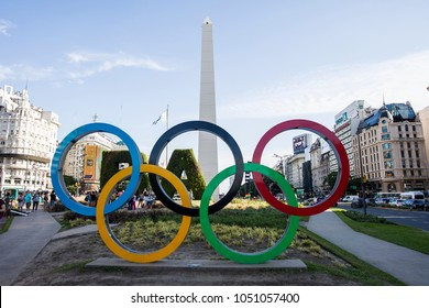 BUENOS AIRES, ARGENTINA - JANUARY 22, 2018: Olympic rings by Obelisco in Buenos Aires, Argentina. Summer Youth Olympic Games are scheduled at October 1-6 2018 in Buenos Aires.