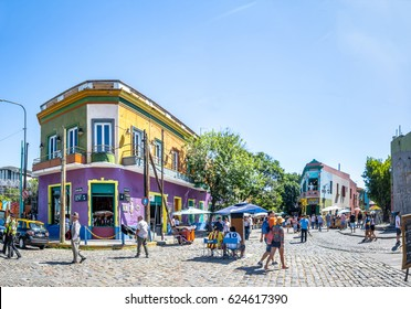 BUENOS AIRES, ARGENTINA - January 26, 2016: Colorful La Boca area - Buenos Aires, Argentina