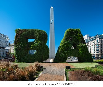 Buenos Aires, Argentina – January 2-8, 2018: The Obelisk of Buenos Aires is a national historic monument and icon of Buenos Aires. Located in the Republic Square.