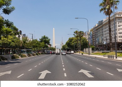 BUENOS AIRES, ARGENTINA -  JANUARY 30, 2018: The Obelisk a major touristic destination in Buenos Aires, Argentina