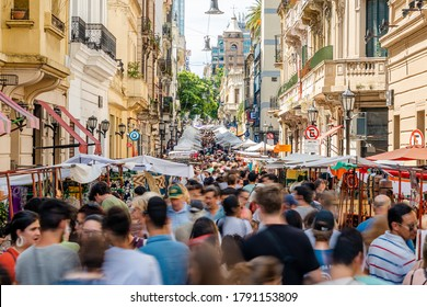 Buenos Aires, Argentina - January 5, 2020: Crowds at the traditional San Telmo Market in Buenos Aires, Argentina.