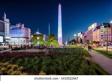 Buenos Aires, Argentina - January 8, 2018: National historic monument and landmark Obelisk of Buenos Aires at night in Buenos Aires, Argentina.