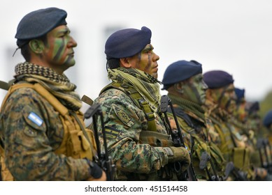 Buenos Aires, Argentina - Jul 11, 2016: Argentine army forces at the military parade during celebrations of the bicentennial anniversary of Argentinean Independence day.