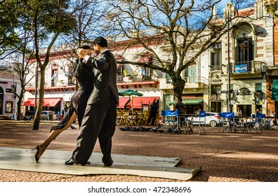 BUENOS AIRES, ARGENTINA - JULY 11, 2016: Two unidentified tango dancers performing at Plaza Serrano in San Telmo neighborhood