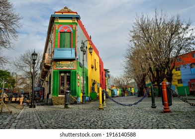 BUENOS AIRES, ARGENTINA - ARGENTINA- JULY 12, 2018: Caminito street in La Boca neighborhood.  It was a port area where Tango was born, now tourist destination with colorful houses and pedestrian stree