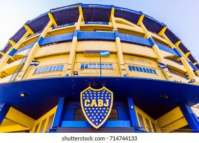 Buenos Aires, Argentina - July 18, 2017: The Bombonera in La Boca neighborhood, home  stadium of Boca Juniors football club